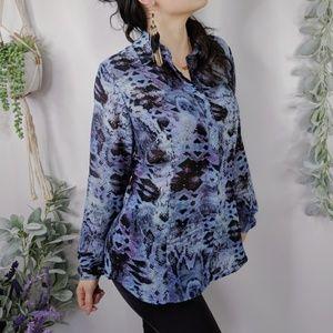 CAbi 609 Python Print blouse blue purple 0131